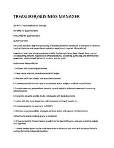 Treasurer Business Manager Job Description Teton School District 401