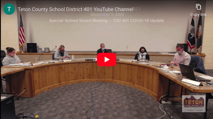 Special School Board Meeting – TSD 401 COVID-19 Update